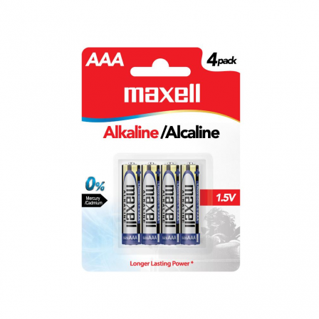 Maxell AAA size 1.5V Alkaline Batteries 4pcs card - LR03(GD)4B