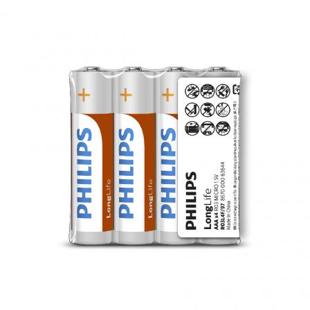 PHILIPS AAA Size 1.5V LongLife Zinc Chloride Batteries 4pcs shrink (R03L4F/97)