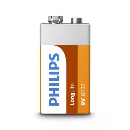 PHILIPS 9V Size LongLife Zinc Chloride Batteries 1pcs card (6F22L1B/97)